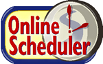 Online Scheduler -  a gray clock with red hands